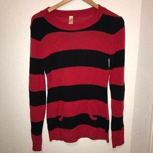 Girl's Red Black Stripes Sweater Med No Boundaries